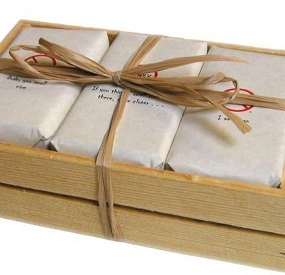 Men's Soap Gift Set Wood Crate for the Dude  - See Label Options - Groomsmen Gift for Men  -Wrapped in Funky Labeling Dad Groomsmen Gift etc