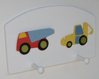 Construction Trucks Wall Peg Rack