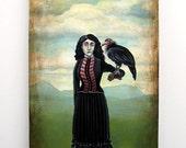 Original Surreal Painting: Lady Falconer With A California Condor