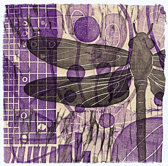 Jazzy Dragonfly 6x6in (original woodcut)