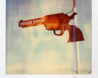 Polaroid Print 5x7 - Retro Gun Range Sign - Fine Art Photography
