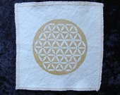 Gold Flower of LIfe Patch Hand screened onto Organic Natural colored Hemp