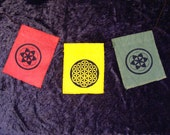 Sacred Geometry Flags hand printed on organic cotton and hemp fabrics you choose three colors and designs
