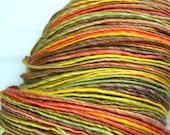 HandSpun Yarn Merino Wool Tencel Bright Autumn Leaves 175 yards