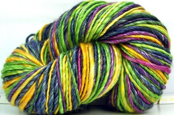 HandSpun Yarn Merino Wool and Tencel - Passion Fruit - 126 yards 4.2 ounces
