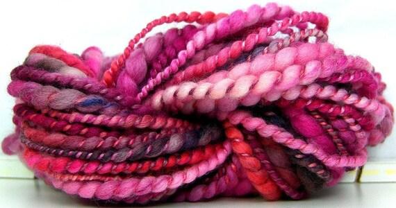 HandSpun Bulky Yarn merino wool tencel Sakura 24 yards 1.3 ounces mini skein