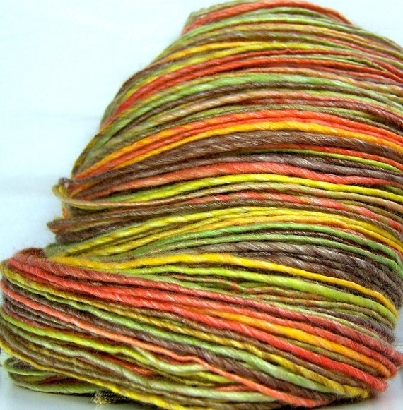 HandSpun Yarn Merino Wool Tencel Bright Autumn Leaves 175 yards
