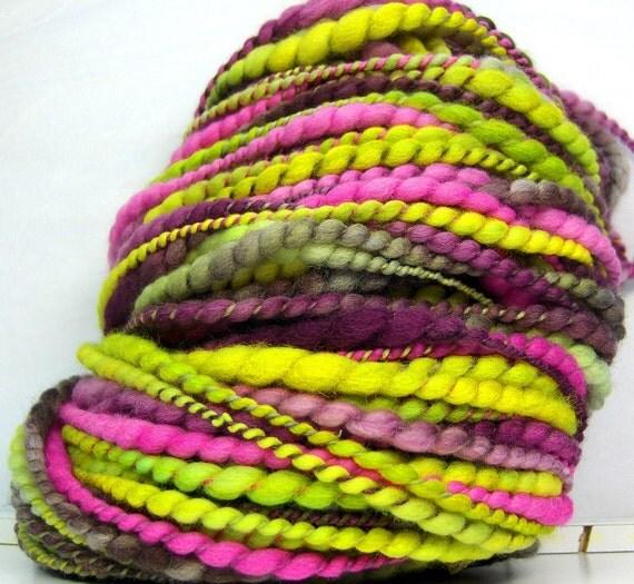 RESERVED HandSpun Yarn Bulky 2ply Yarn merino wool and silk Ingrid thicknthin 67 yards