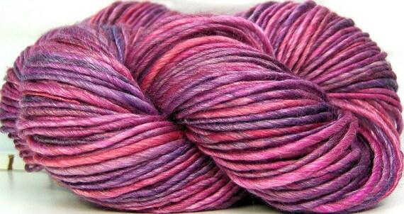 HandSpun Yarn Merino Wool Tencel Berry Valentine 161 yards