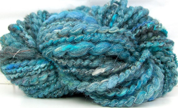 HandSpun Yarn bulky thread ply Sea Smoke Blues 36 yards
