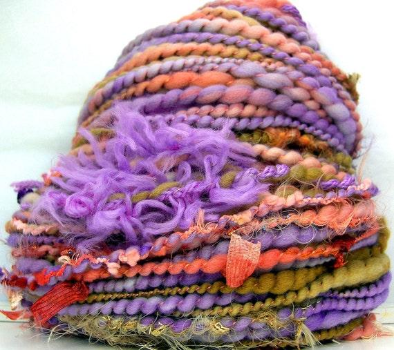 HandSpun Art Yarn bulky wool Coral Lilac Sands 56 yards Kitty Grrlz FunctionArt art yarn