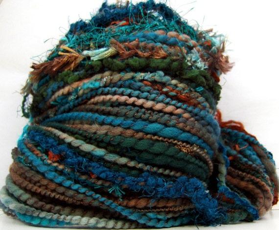 HandSpun Art Yarn merino wool Southwest Pine 74 yards 3.2 ounces