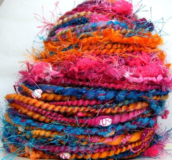 HandSpun Art Yarn merino wool bulky yarn Hello Boho Brights Custom Spin to Order Kitty Grrlz FunctionArt Art Yarn