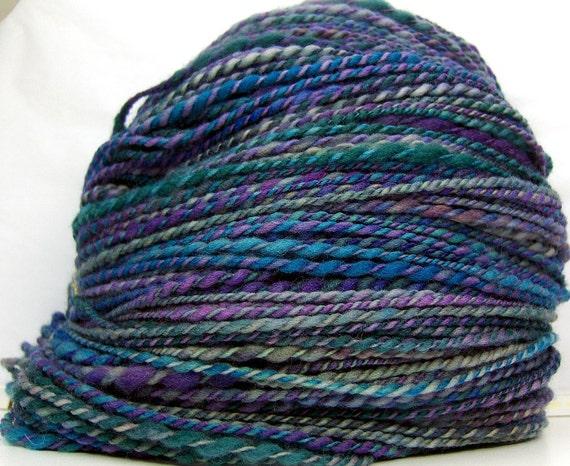 HandSpun Yarn 2ply superwash merino wool Peacock 285 yards