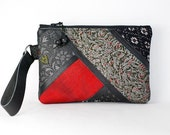 Clutch / Pouch / Purse / Wristlet  - Vintage black red kimono and leather