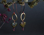 brass and copper earrings with glass leaves - mixed metal - drop earrings - bohemian jewelry