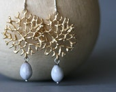 gold coral charm earrings with natural seeds - bohemian chic - drop earrings - bridal jewelry