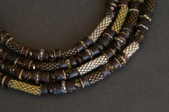 long beaded necklace with handmade beads and coconut shell - ethnic jewelry - statement necklace
