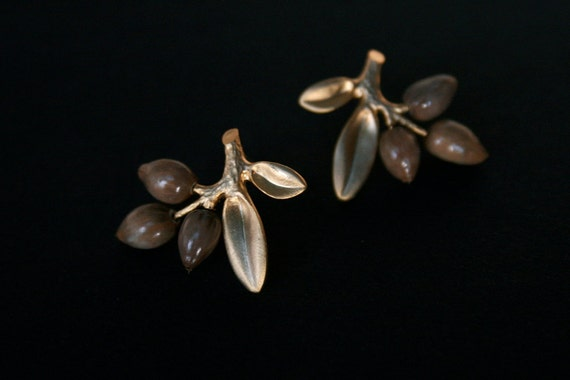 stud earrings with natural seeds and sterling silver posts