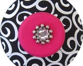 Black and White Swirls Hot Pink Jeweled Handpainted Wood Drawer Pull Knob