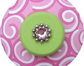 Pink and Green SWIRLS Swarovski Crystal Jeweled Hand Painted Wood Dresser Furniture Decorative Nursery Baby Girl Kids Drawer Pull Knob