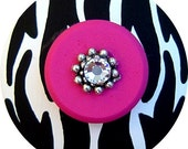 Black White and Hot Pink ZEBRA  Jeweled Hand Painted Wood Drawer Knobs