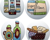 Kitchen Food Pantry Hand Painted Wood Decorative Unique Culinary Kitchen Art Furniture Drawer Pull Cabinet Knob