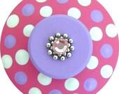Hot Pink Purple Polka Dots Swarovski Crystal Jeweled Hand Painted Decorative Dresser Furniture Cabinet Kids Children  Wood Drawer Knobs Pull
