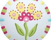 Yellow Pink Flower with Multi Color Check Border Hand Painted  Decorative  Dresser Girl Kids Baby Room Wood Drawer Pull Knobs Nursery Decor
