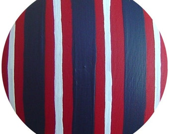 Hand Painted Red White Navy Blue Stripes Wood Decorative Kids Room Boys Dresser Furniture Art Nursery Childrens Playroom Drawer Knobs Pulls