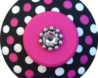 Black White and Hot Pink Polka Dots Swarovski Crystal Jeweled Hand Painted Wood Dresser Furniture Teen Decor Kids Nursery Drawer Pull Knob