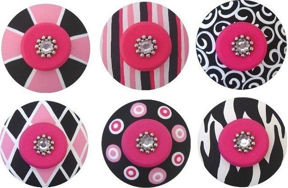 Set of 6 Black White and Hot Pink Handpainted Swarovski Crystal Jeweled Drawer Pulls KNOBS