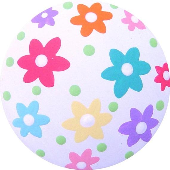 Multi FLOWERS  Hand Painted Wood Decorative Girls Kids Childrens Colorful Dresser Custom Nursery Furniture Art Baby Room Drawer knobs Pulls