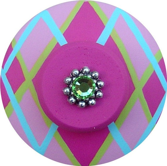 RESERVED Listing For VERONICA For a Set of 3 Hand Painted Jeweled Drawer Knobs