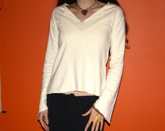 womens hemp clothing - long sleeve v-neck shirt - 100% hemp and organic cotton - custom made to order