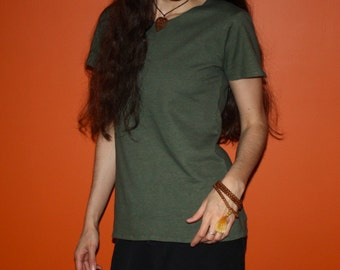 organic hemp clothing - short sleeve hemp t shirt - 100% hemp and organic cotton - custom made to size - hand dyed