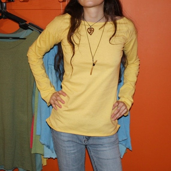 buttercup - long sleeve shirt - recycled organic cotton hand dyed in pale yellow - small