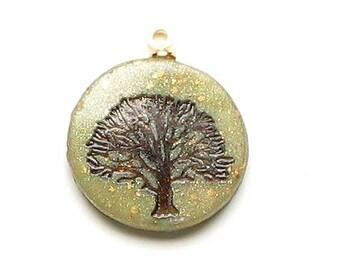 polymer clay charm tiny tree pendant