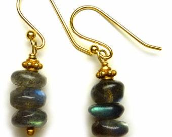 labradorite and gold vermeil pillar earrings