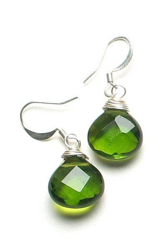 olivine drop earrings