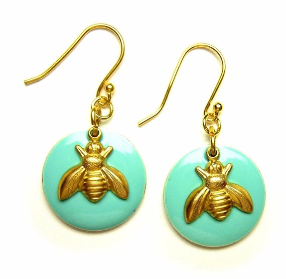 blue and gold bee earrings by bethanycooper on etsy