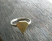 Diamond Ring - Sterling Silver Band - Brass