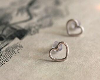 Heart Post Earrings - Sterling Silver Stud - Handmade