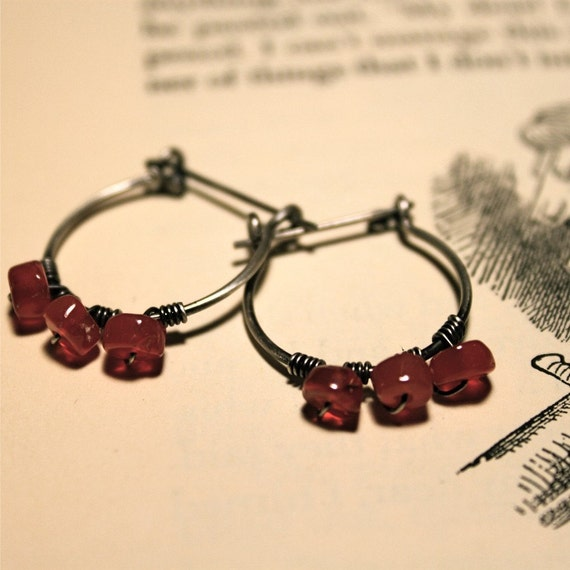Wire-Wrapped Carnelian Earrings