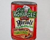Watercolor Ink Original Painting - Kitchen Pop Art - Chef Boyardee Can of Ravioli