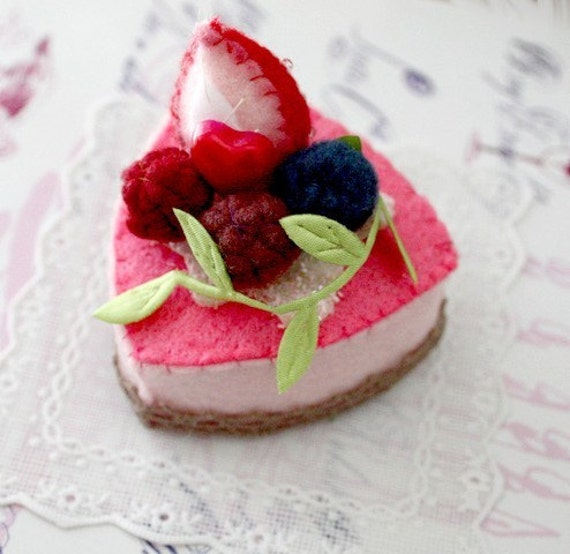 SALE Felt Cake Handmade - Hand Stitched Strawberry Berries Mousse Dessert - Toy or Decoration