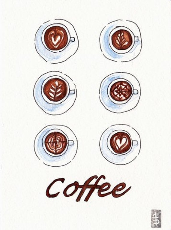Coffe Cup Cups Selection Original Watercolor Painting - Kitchen Food Art