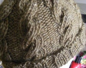 Green Cable Knit Wool Hat - Dark Sage/Moss
