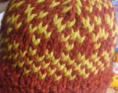 Bulky Red and Yellow Wool Fair Isle Hat