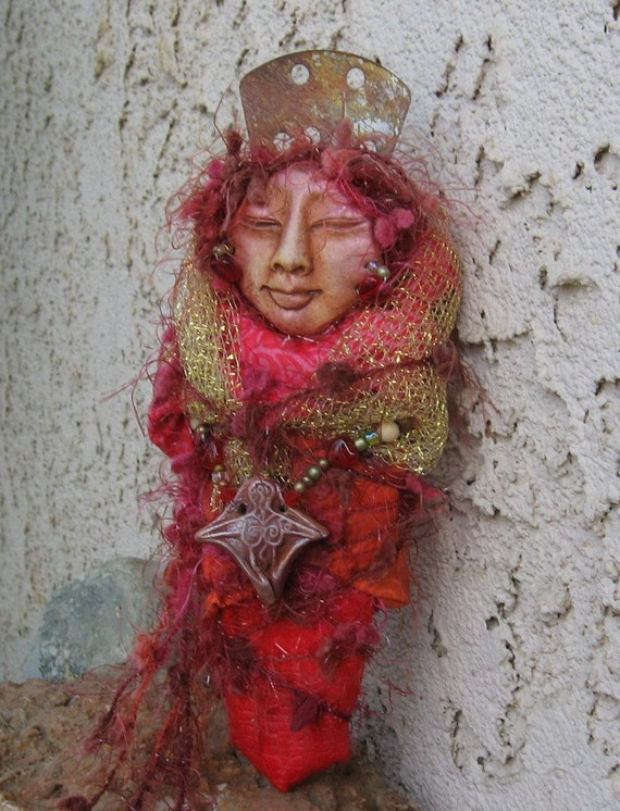 RESERVED Red MoonAssemblage, The Alchemy of Creativity and Imagination Art Doll ooak